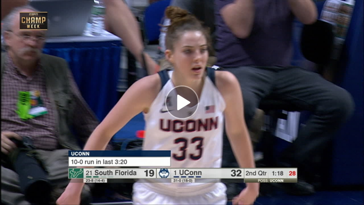 Katie Lou Samuelson caps off UCONN's 10-0 run with a 3 ...