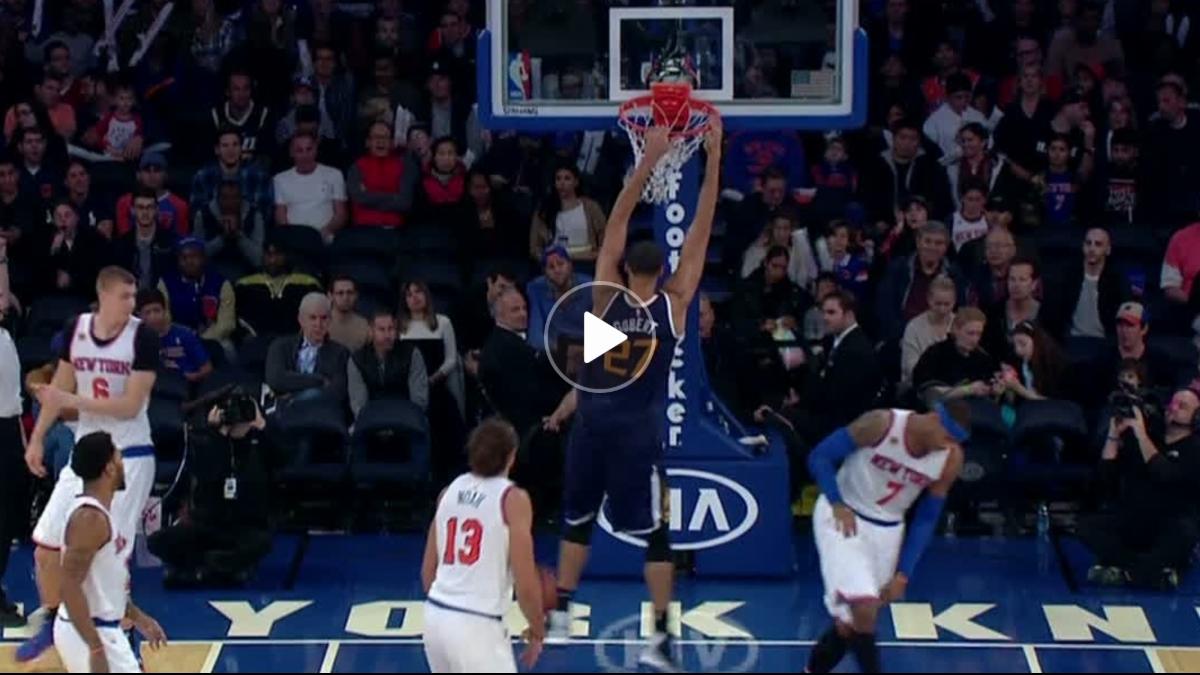 Gobert throws down two-handed jam - ESPN Video
